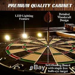 Dart Board Cabinet Premium Set Bristle Steel Tip Dartboard Fléchettes Lumières Led