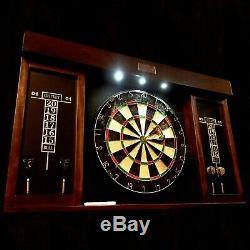 Dartboard Cabinet 6 Conseil D'acier Darts Fléchettes Led Set 40 Pouces Mark Gomme