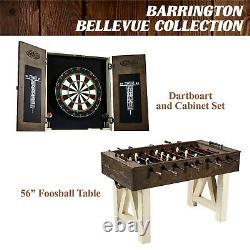 Dartboard Cabinet & Dart Set Board Steel With 6 Bristle Darts Fun Quality Jeu