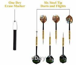 Dartboard Cabinet Set Led Lights Steel Tip Darts Thick Wood Frame Brun Noir