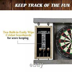 Dartboard Cabinet Set Steel Tip Darts Game Room Heavy Duty Led Light Play Gray