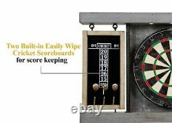 Dartboard Cabinet Set Steel Tip Darts Pine Wood Veneer Frame Pré Assemblé Gris