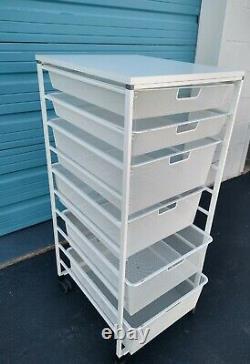 Elfa Cabinet Organizer 6 Piece Set White Steel Mesh Storage Pull Out Tiroir