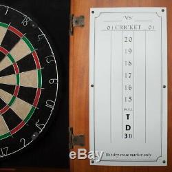 En Bois Massif Dartboard Cabinet Set Avec 6 Bristle Dartboards Steel Tip Darts Nouveau