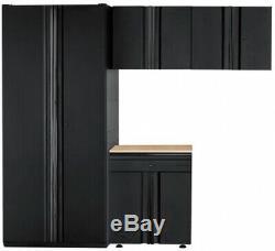 Ensemble D'armoires De Garage Husky 92 Po L X 81 Po H X 24 Po D Acier Noir (4 Pièces)