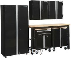 Ensemble D'armoires De Garage Husky Steel En Noir (6 Pièces), Passe-câble À 1 Tiroir Et 2 Portes Nouveau