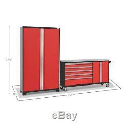 Ensemble D'armoires De Rangement De Garage 104 Po X 77,25 Po X 18 Po En Acier Rouge (2 Pièces)