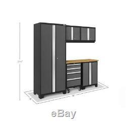 Ensemble D'armoires De Rangement De Garage, 78 Po X 75,25 Po X 18 Po, Gris Acier (6 Pièces)
