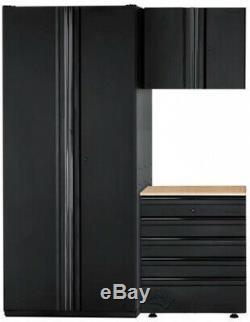 Ensemble D'armoires De Rangement De Garage Husky, 64 Po X 81 Po, Acier Noir (3 Pièces)