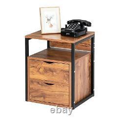 Ensemble De 2 Tables De Chevet Chest Dresser Cabinet Sofa End Table Avec 2 Tiroirs & Shlef