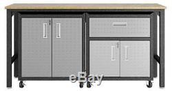 Ensemble De Garage En Acier À 3 Compartiments Mobiles En Acier À Faible Encombrement De La Forteresse En Gris ID 3788439