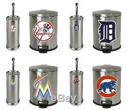 Ensemble Poubelle Et Brosse De Toilette En Acier Inoxydable Mlb Avec Décalques Du Logo De L'équipe De Baseball