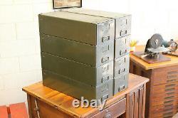 Ensemble X8 Vtg Industriel Ase Acier Étalonnage Des Tiroirs De Stockage D'usine Cabinet Modulaire