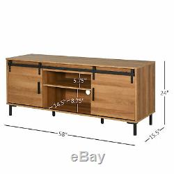 Ferme Tv Stand Support Withmedia Stockage Et Centre, Mid-set Cabinet, Bois