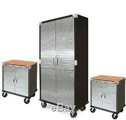 Garage Atelier Boîte À Outils Workbench Grand Et Court De Roulement Ensemble De Rangement Cabinet De 3