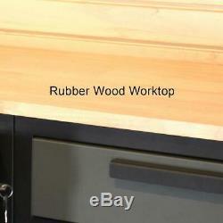 Garage Atelier Rangement Cabinet Set Rack System En Acier Étagères En Bois 9 Pièces Worktop