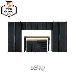 Garage Cabinet Set 156. W X 81. H X 24 In. D Système De Stockage En Acier (8 Pièces)