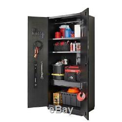 Garage Cabinet Set 5 Pièces Soudé Robuste Système De Stockage En Acier (noir Mat)