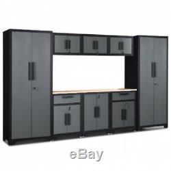 Gymax 9 Pièces Cabinet Grand Garage En Acier Ensemble De Rangement De Calibre 24 Rack Étagère Parfait
