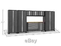 Heavy Duty Acier Garage Outils De Rangement Tiroirs Cabinet Étagères Gris 7 Set Worktop