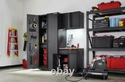 Heavy Duty Soudé 64. W X 81. H X 24. D Armoire De Garage En Acier Set Black