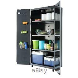 Husky 108. W X 98. H X 24 In. D Acier Garage Cabinet Set In Black