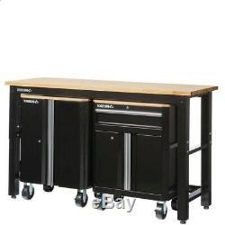Husky 72 Po. W X 42. H X 24 In. D Acier Garage Set Cabinet En Noir (3 Pièces)