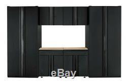 Husky Heavy Duty En Acier Soudé 128x81x24 Garage Ensemble Cabinet Noir (6 Pièces)