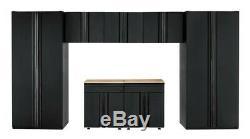 Husky Heavy Duty En Acier Soudé 156x81x24 Garage Ensemble Cabinet Noir (7 Pièces)