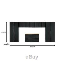 Husky Heavy Duty En Acier Soudé 184x81x24 Garage Ensemble Cabinet Noir (8 Pièces)