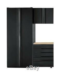 Husky Heavy Duty En Acier Soudé 64x81x24 Garage Ensemble Cabinet En Noir (3 Pièces)