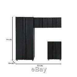 Husky Soudé 78 À. 75 W X En. H X 19. D Acier Garage Cabinet Set In Black