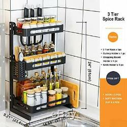 Joyrain Spice Rack Ensemble Comptoir, Armoires De Cuisine En Acier Inoxydable (3 Niveaux)