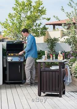 Keter Unité Portable Outdoor Table Avec Armoire De Rangement En Acier Inoxydable Et Top
