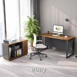 L Bureau De Travail De Bureau En Forme De Bureau Avec Cabinet De Fichiers Noix Foncée Pour La Maison