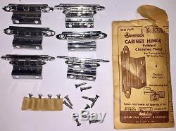 Lot De 9 Paires De Charnières D'armoire Amerock Des Années 1950, E7645, Chrome, Portes 3/4 Encastrées Nos