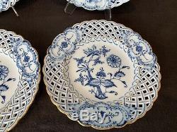 Meissen Blue Onion Ors Réticulés Salade Plate 8 1/4 Cabinet Des Années 1800 Épée Set 4