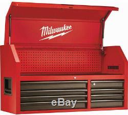 Milwaukee - Armoire À Roulettes Avec Coffre À Outils, 46 Po. 16 Tiroirs, Acier, Rouge / Noir