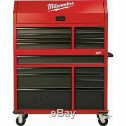 Milwaukee Steel Tool Chest 46 - Armoire À Roulettes À 16 Tiroirs - Rouge Texturé - Noir