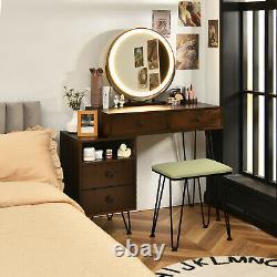 Mimmer Led Miroir Grand Armoire De Rangement Tiroir Vanity Tabouret De Table Set Walnut