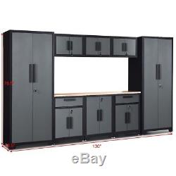 Mobilier De Rangement En Métal De Garage De Voiture De L'atelier 9-pc D'atelier De Coffret En Acier D'entrepôt