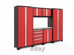 Newage Bold 3.0 Cabinets Workbench Ensemble De 7 Ordinateurs, Dessus En Acier Inoxydable Rouge Et Lampe À Led