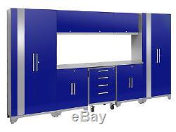 Newage Products Ensemble D'armoires De Rangement 9 Pièces Performance 2.0 En Acier Inoxydable Bleu