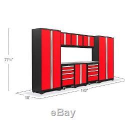 Newage Products Gras 3.0 Ensemble 9 Pièces De Rangement Pour Garage Armoires Outil Workbench