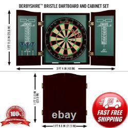 Nouveau Bristle Dartboard Self-healing Sisal Board Cabinet Set 6 Steel Tip Darts 18