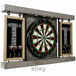 Prescott Collection 40 Dartboard Cabinet Set Steel Tip Darts Jeu De Taille Officielle