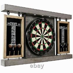 Prescott Collection Dartboard Cabinet Set Led Lumière, Conseil En Acier, Dart Gray/beige