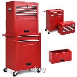 Red 6-drawer Rolling Tool Coffret Boîte À Outils Combo Set Kit De Verrouillage Avec Riser