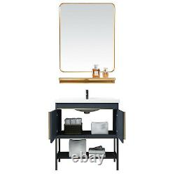 Salle De Bain Avec Miroir Vanity Stand En Acier Inoxydable Cabinet En Céramique Serti De Robinet