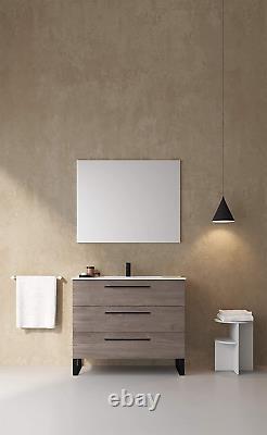 Salle De Bain Moderne Vanity Cabinet Set Dakota Chicago Gris Chêne Bois 40 X 33 X 18